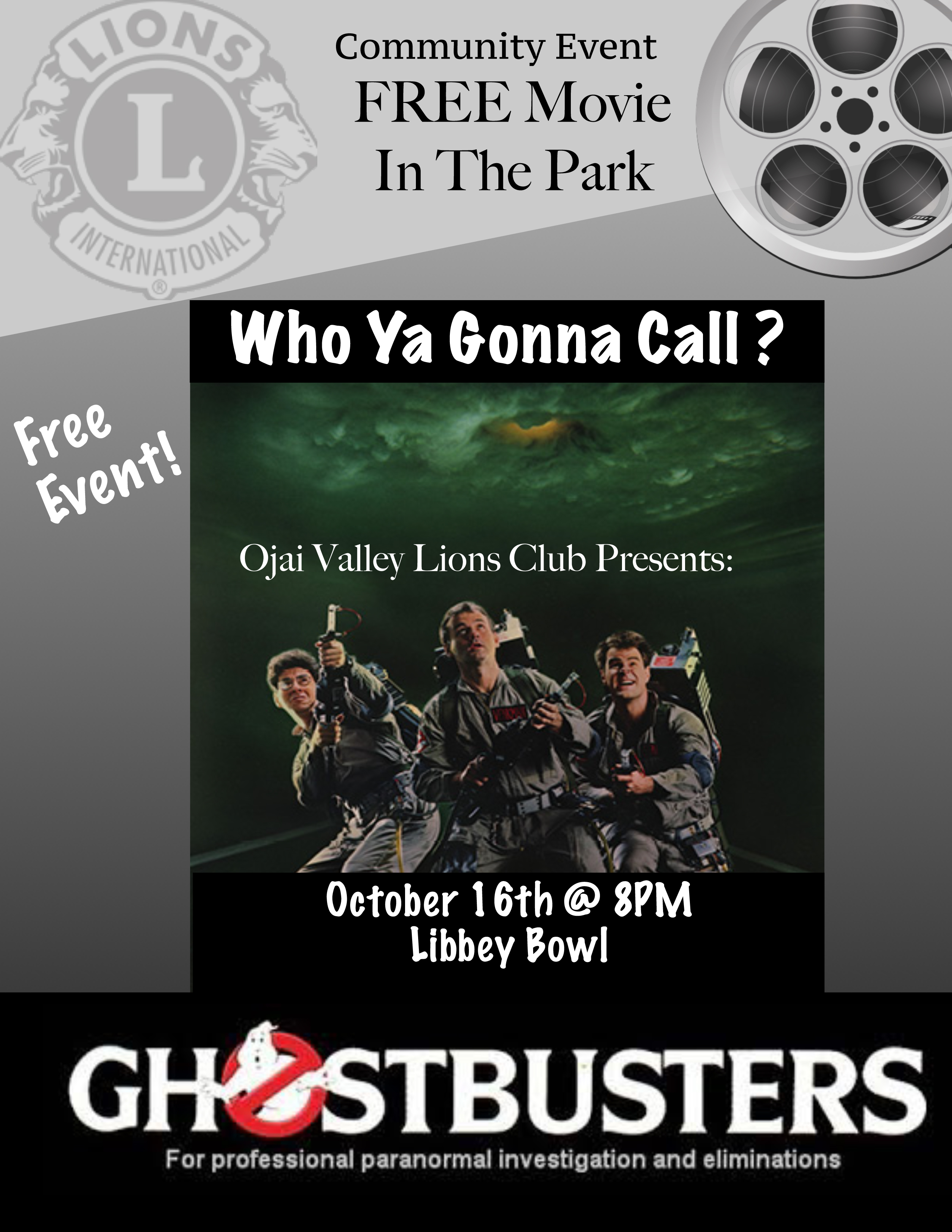 Free Movie In Libbey Park – This Friday 8pm FeaturingGhostbusters!