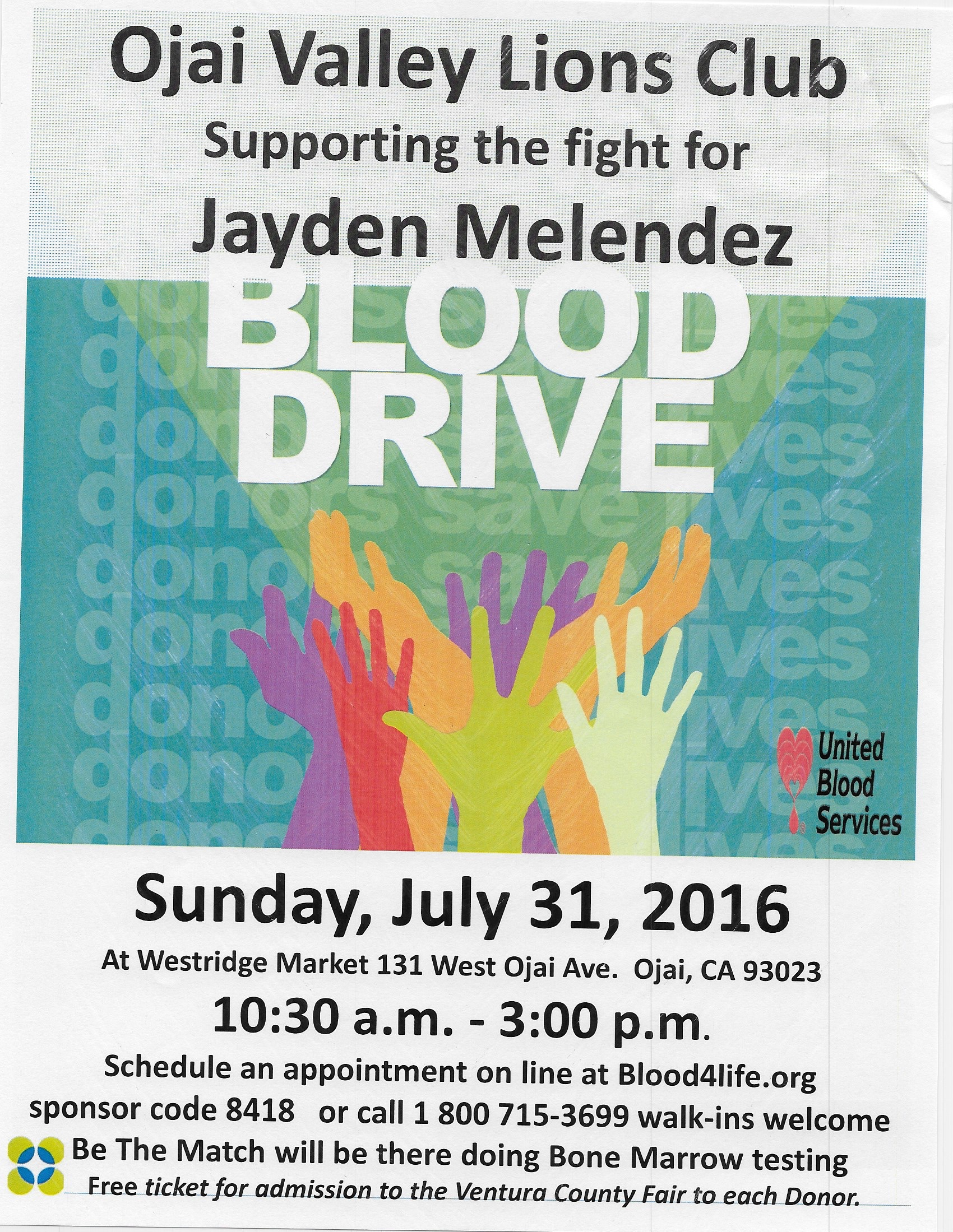 Blood Drive July 31st  – Schedule Your Appointment!  Supporting the fight for Jayden Melendez