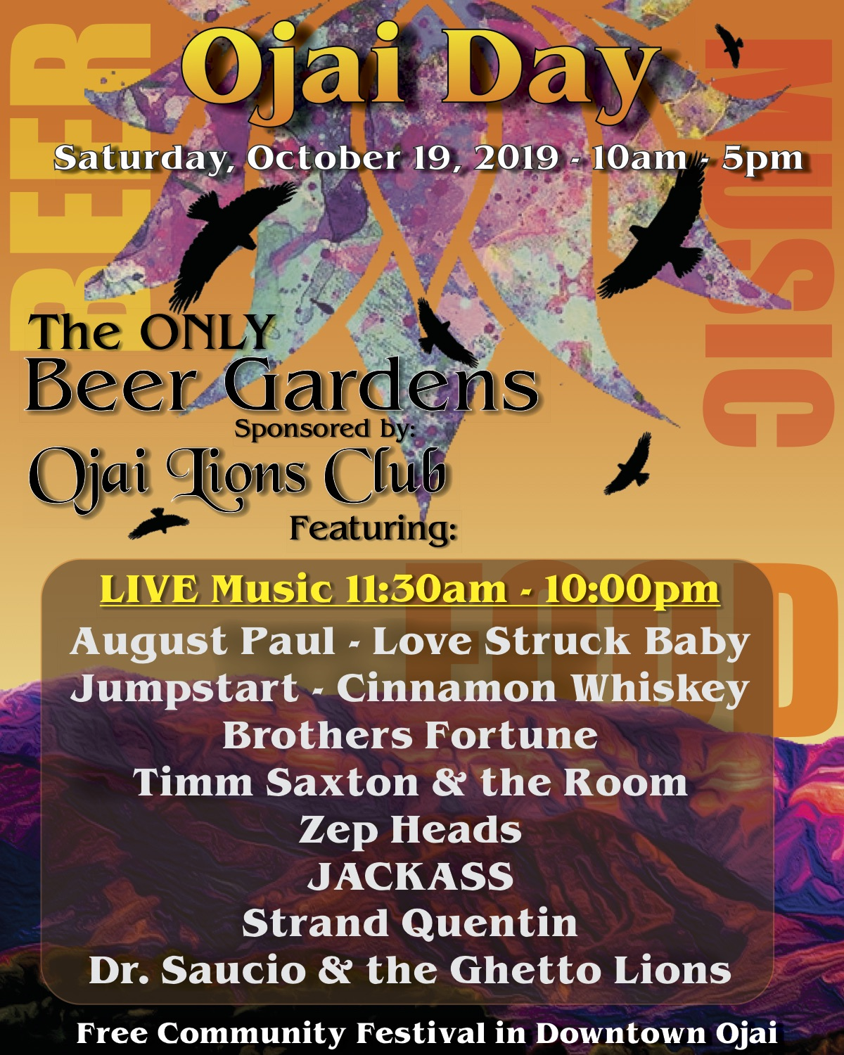 Ojai Day's Awesome Music Line Up